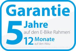 5 Jahre Garantie auf den E-Bike-Rahmen und 12 Monate Garantie auf den Akku